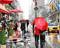 Картина по номерам на цветном холсте 40Х50см Babylon Premium Дождь в Нью-Йорке