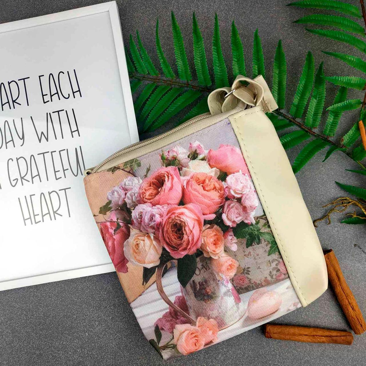 Бежевая сумка для девочки с принтом Букет Цветов