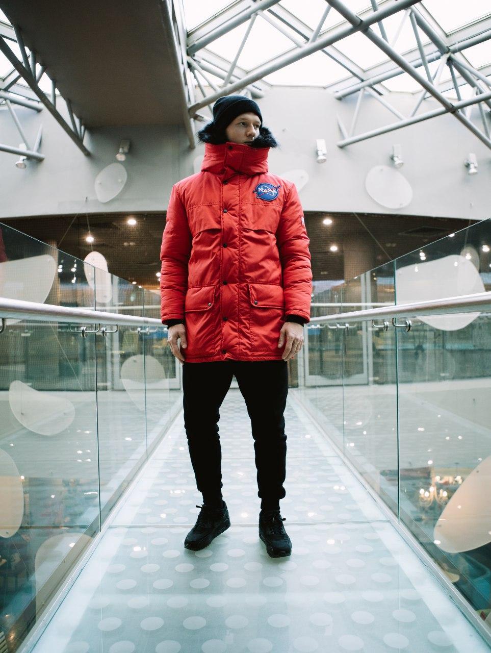 😜 Парка - Мужская очень теплая куртка NASA красная