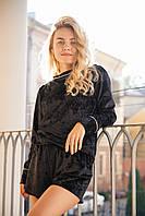 Велюровая пижама - Свитшот и шорты. Красивая велюровая пижама кофта и шорты. Домашняя одежда.