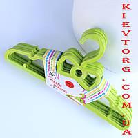 Плечики вешалки детские костюмные салатового цвета 6 шт, длина 29 см