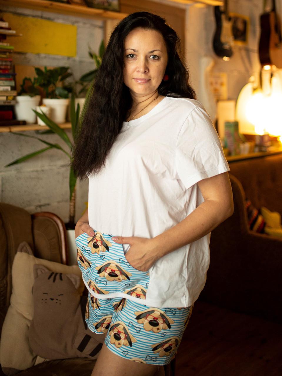 Пижама шорты с футболкой Песик Николай XL