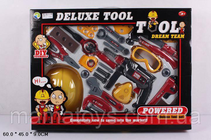 Детский игровой Набор инструментов Z66B дрель, отвертка, молоток, каска, очки и прочее в кор 60*45*9 см