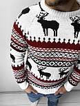 😜 Свитшот - Мужской свитшот с оленями белый, фото 4