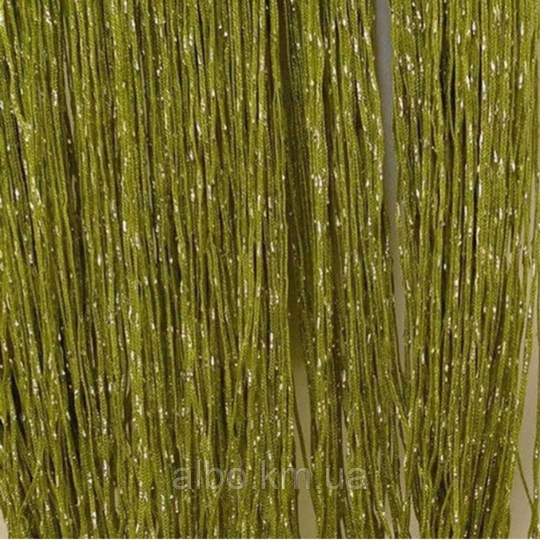 Шторы нити радуга дождь с люрексом 300x280 cm Оливковые (Ki-2313)
