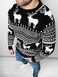😜 Светр Чоловічий светр з оленями (чорний) шерсть, фото 3