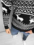 😜 Светр Чоловічий светр з оленями (чорний) шерсть, фото 2