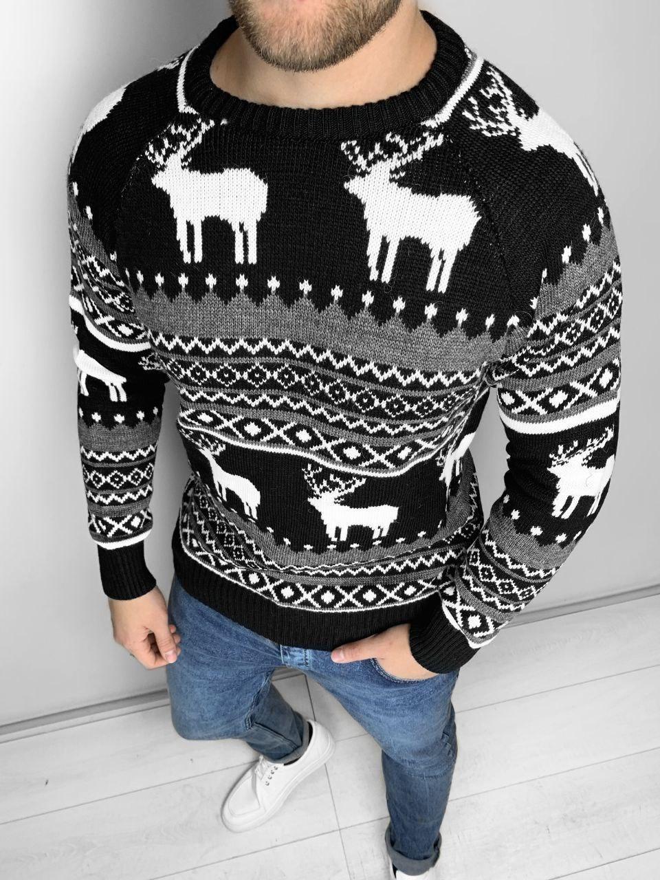 😜 Светр Чоловічий светр з оленями (чорний) шерсть