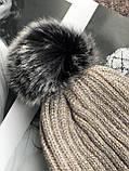 Бежевая с люриксом шапка на флисовой подкладке теплая с помпоном, фото 4