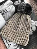 Бежевая с люриксом шапка на флисовой подкладке теплая с помпоном, фото 3
