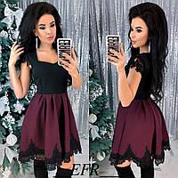 Красивое женское приталенное платье с кружевом 42-44 46-48 черное бордо красное