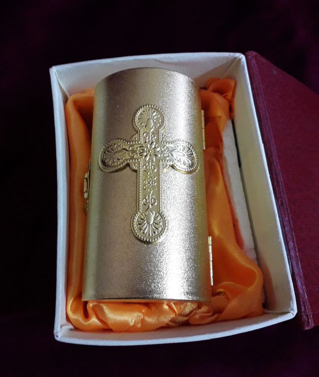Крестильный ящик с позолотой 11х7см (Греция)