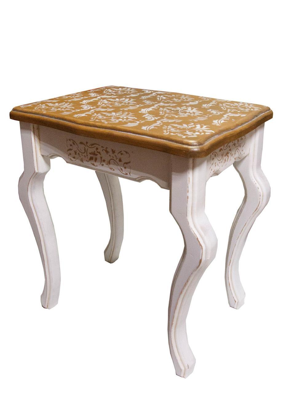 """Столик интерьерный массив дерева """"Молочный прованс"""", фигурная крышка(40х31х45 см)"""