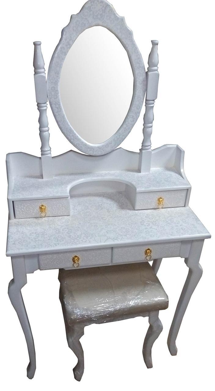 Столик туалетный белый, с кружевами,с зеркалом и пуфом, массив дерева (145 х 40 х 75 см.)