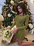 """Жіноче плаття з трикотажу гофре з паєтками """"Flirt"""", фото 4"""