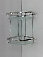 Полочка двойная угловая со стеклом 22 х 22 100% нержавейка
