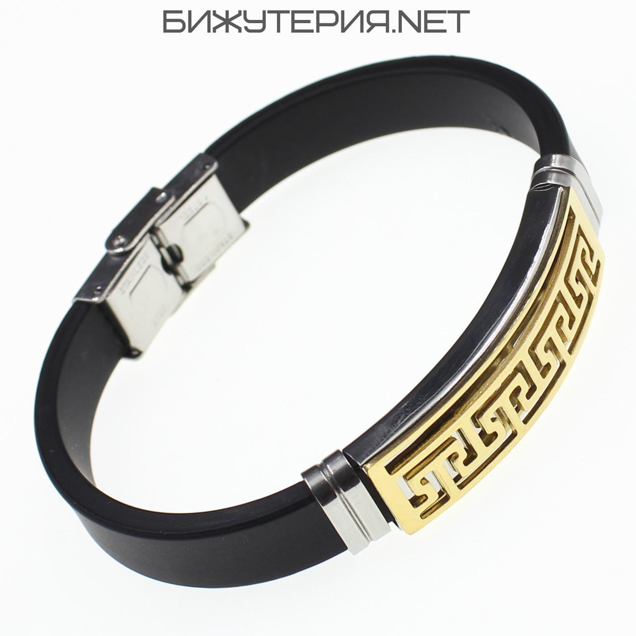 Браслет мужской Stainless Steel медицинская сталь, черный - 1059079851