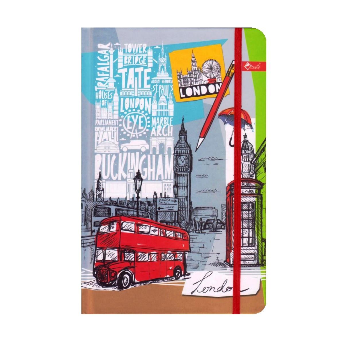 """Скетчбук А5,64 л. """"Лондон"""" твёрдая обложка, на резинке ТП-66"""