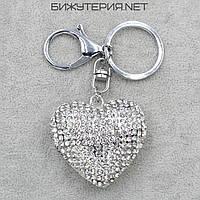 Брелок JB Сердце цвет металла серебро с белыми стразами - 1066636440