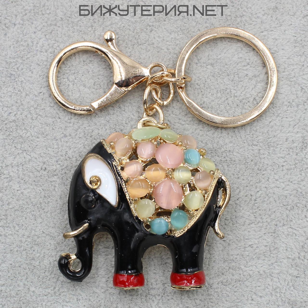 Брелок JB Слон черная и красная эмаль металл золотого цвета с разноцветными камнями - 1066636612