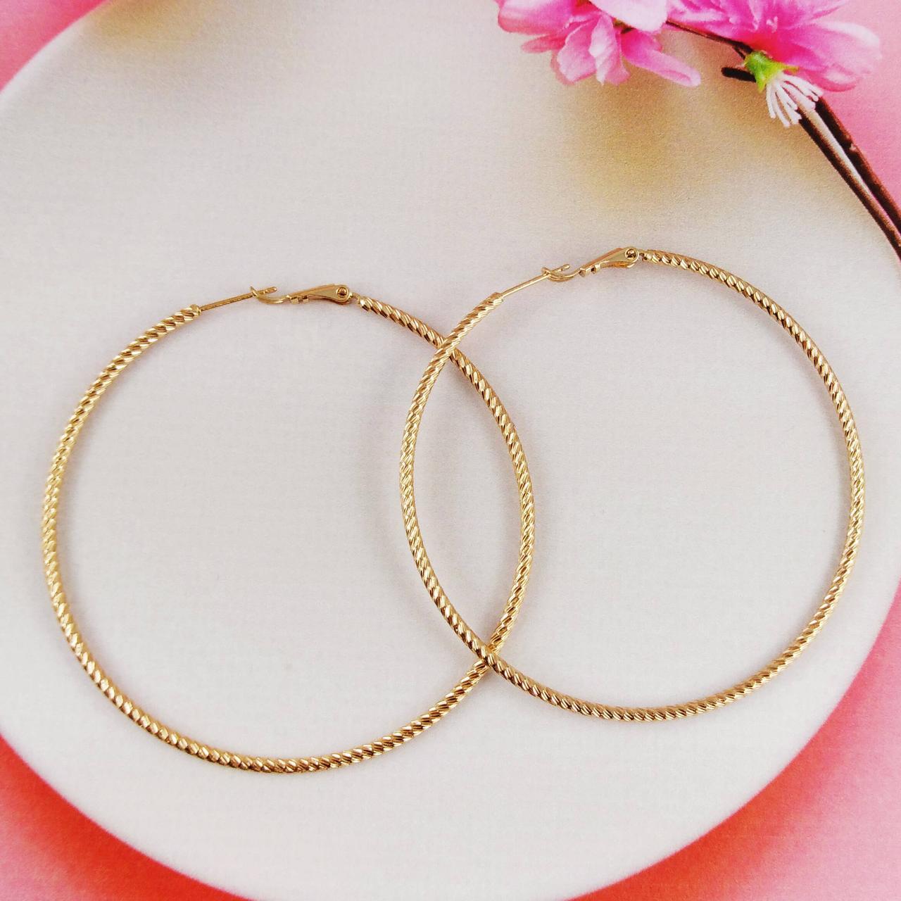 Серьги кольца Xuping Jewelry диаметр 6,7 см спиральный узор медицинское золото, позолота 18К. А/В 4510