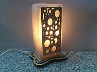 Соляная лампа Прямоугольник с узором 16 см