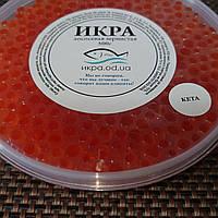 Червона ікра КЕТА лососева 500г, заводська упаковка в пластик, якість преміум, велика ікринка