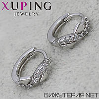 Серьги Xuping медицинское золото Silver - 1032139854