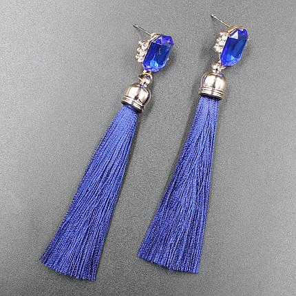 "Серьги-кисти (кисточки)  ""Imperat Blue"" L - 9,5 см, фото 2"