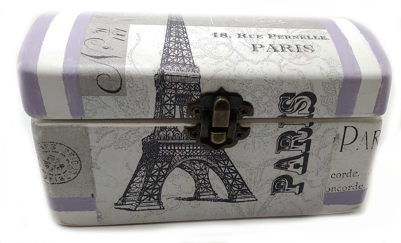 """Шкатулка  """"Париж"""" (16х8х8 см) массив дерева"""