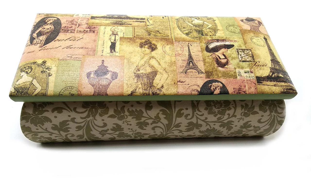 """Шкатулка  """"Париж"""" (9х16х7,5 см) массив дерева"""