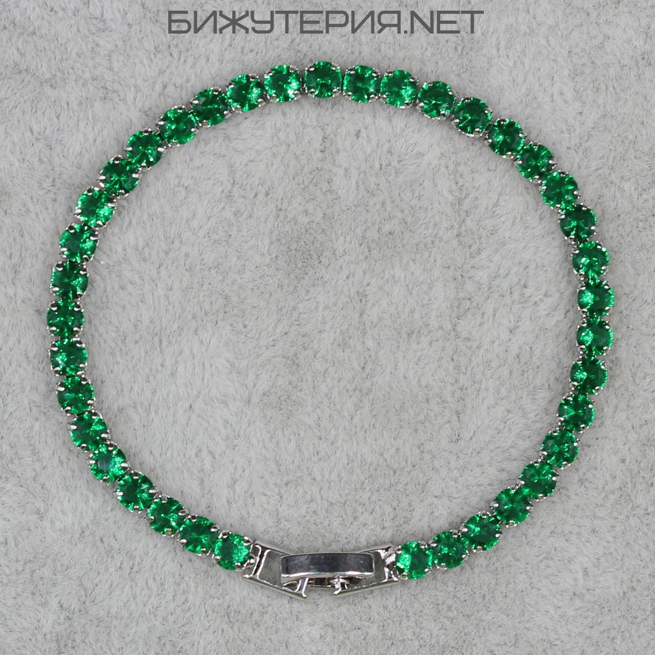 Браслет женский  JB инкрустирован камнями зеленого цвета - 1062209580