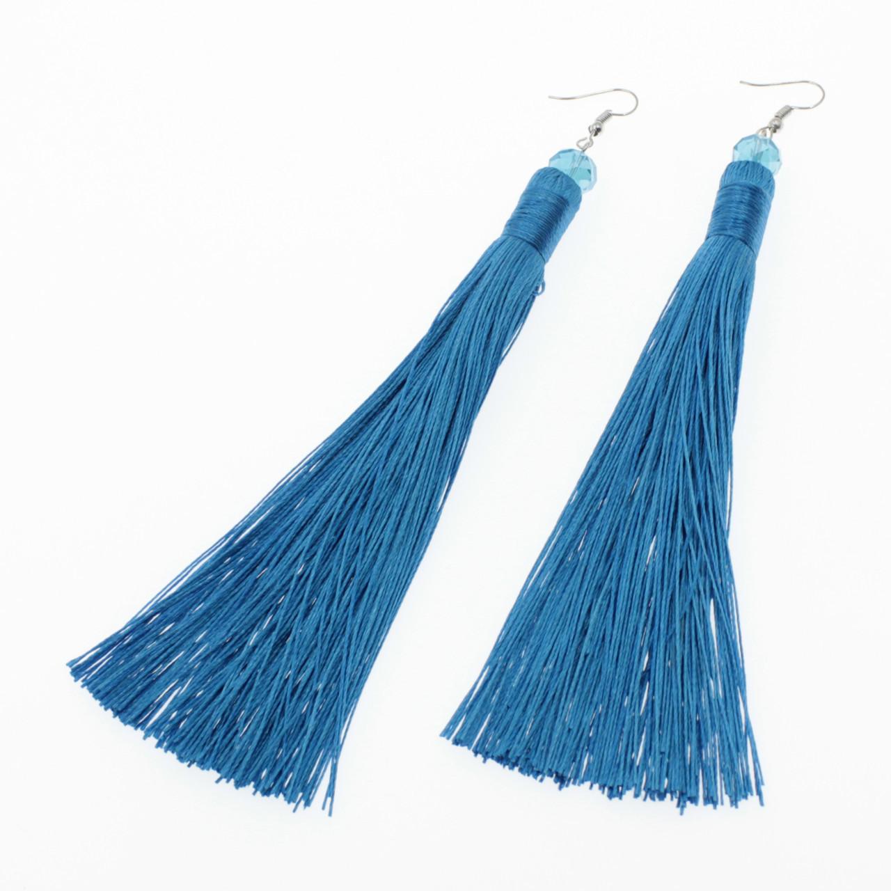 "Серьги-кисти (кисточки)  ""Arabella Blue lux"" L - 14 см"