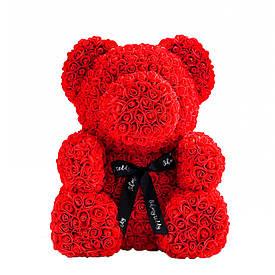 Мишка из роз в коробке 40 см - КРАСНЫЙ  (S01050)