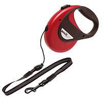 Поводок рулетка для собак до 20 кг, с ручкой и кнопкой блокировки, светоотражающий шнур 5 м DogxToGo Cord (Карли-Фламинго) Karlie Flamingo (красный)