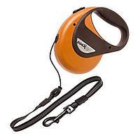 Поводок рулетка для собак до 12 кг, с ручкой и кнопкой блокировки, светоотражающий шнур 8 м DogxToGo Cord (Карли-Фламинго) Karlie Flamingo (оранжевый)