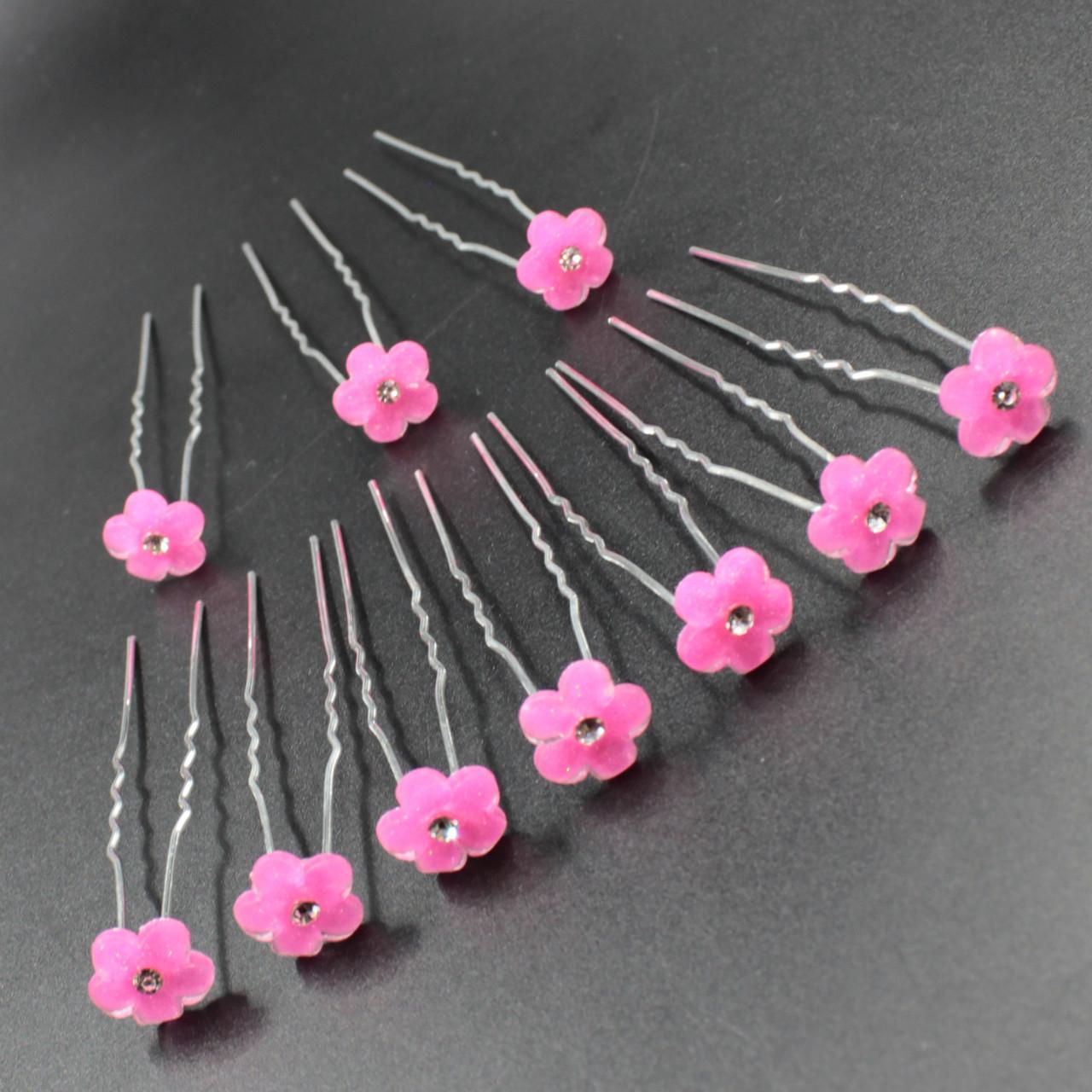"""Шпилька для волос в виде цветка """"Andreas Pink"""" 10 шт"""
