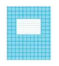 Тетрадь 24 листов клетка картон голубая обложка