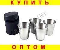 Набор стаканов рюмок в чехле D53 4 шт  (S01221)