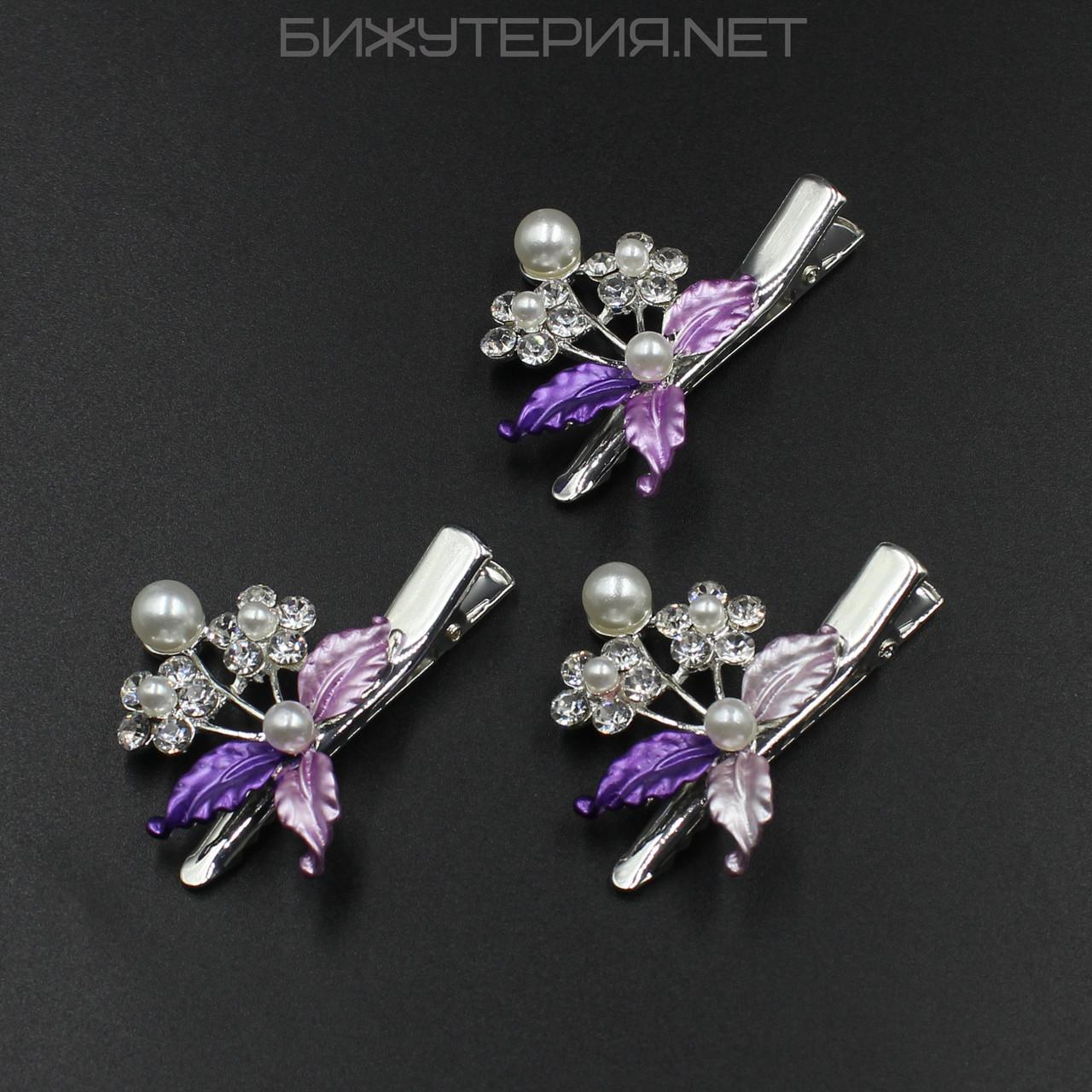Заколка зажим для волос 3 шт JB, сиреневая эмаль цвет металла Silver - 1045320926