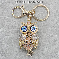 Брелок JB Сова металл золотого цвета с камнями и белыми стразами - 1066637106