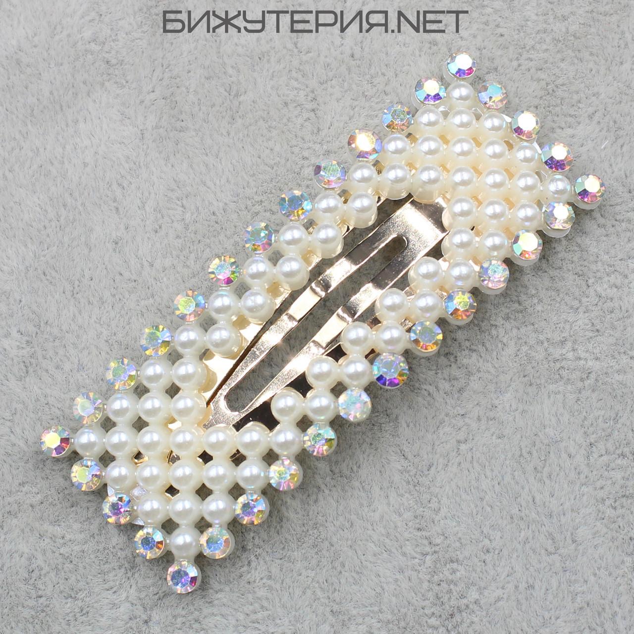 Заколка  JB прямоугольная искусственный жемчуг декорирована стразами для волос крепление тик-так - 1070959309