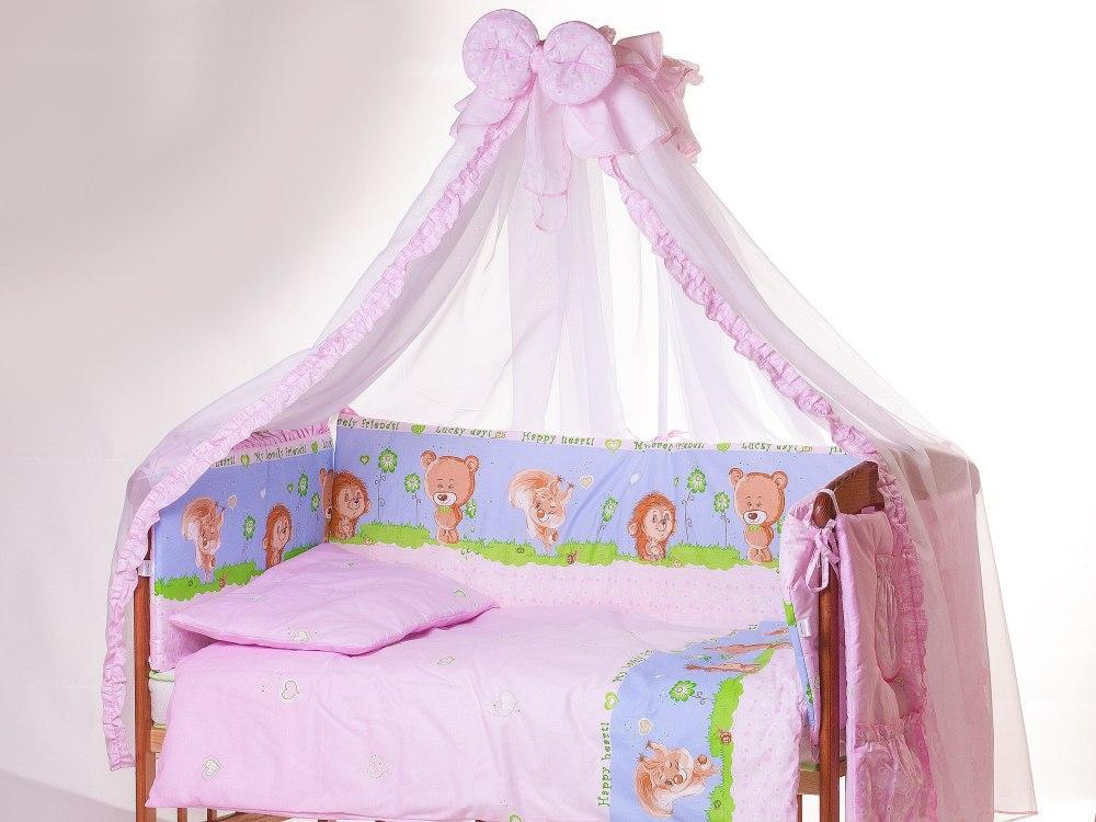 Детская постель Qvatro Lux  RL-08  розовая (ежик с мишкой,белкой)