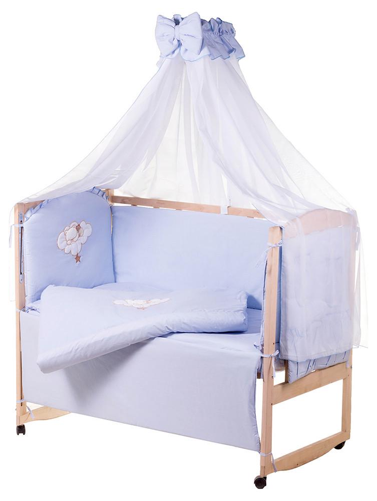Детская постель Qvatro Gold AG-08 аппликация  голубой (мишка спит на облаке)