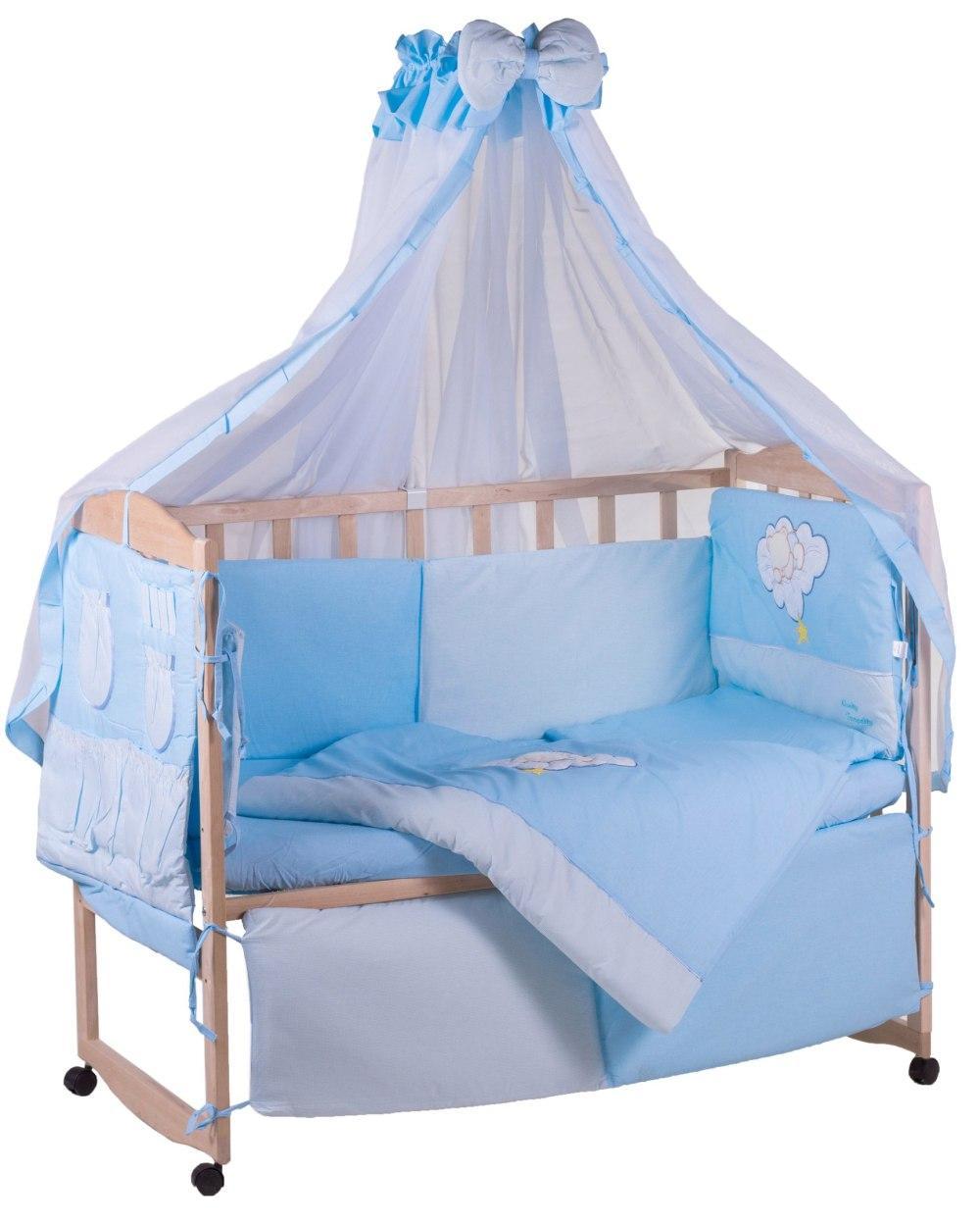 Детская постель Qvatro с аппликацией (8 элем.,со змейками на защите).  голубой (мишка на облаке)