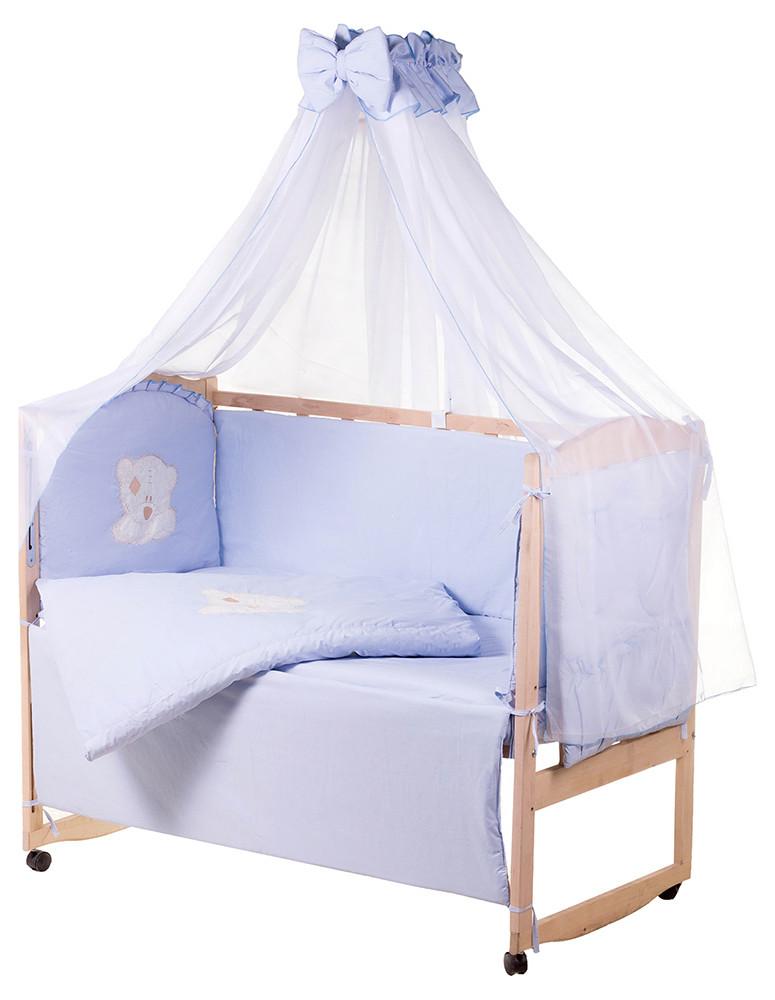 Детская постель Qvatro Gold AG-08 аппликация  голубой (мишка мордочка штопанная)