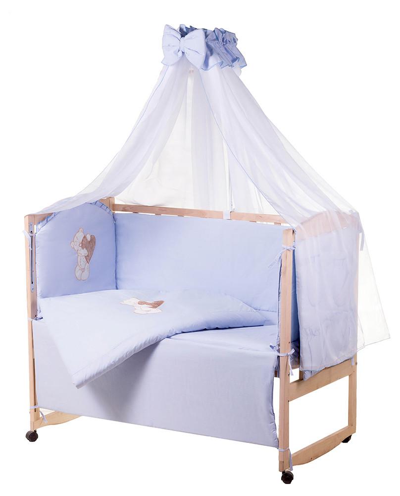 Детская постель Qvatro Gold AG-08 апликация  голубой (мишка стоит с сердцем)