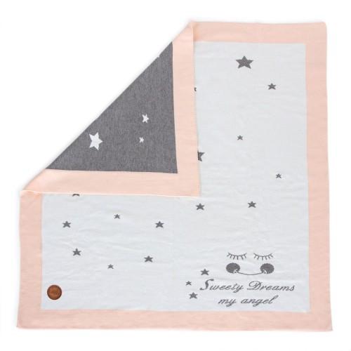 Вязанный плед Ceba Baby Stars 90х90 см  персик