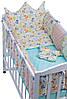 Детская постель Babyroom Classic Bortiki-01 бирюза-бежевый-белый, фото 3