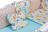 Детская постель Babyroom Classic Bortiki-01 бирюза-бежевый-белый, фото 4